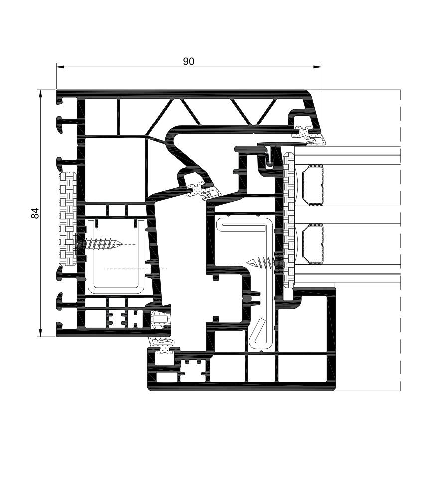 Sección del sistema A 84 Hoja oculta Passivhaus