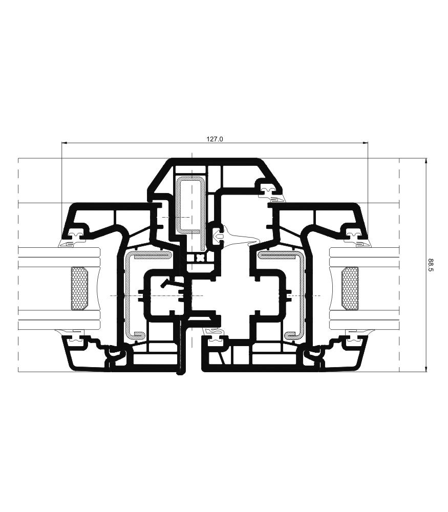 Sección del sistema A 70 Triple junta